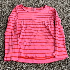 Ann Taylor pink and orange striped shirt-zipback